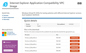 Microsoft Download-Seite der virtuellen Maschinen für Webentwickler