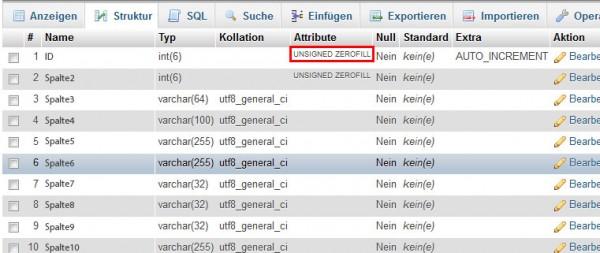 Parameterübergabe einer mySQL-Tabelle mit UNSIGNED ZEROFILL