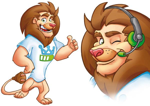 Der Akku-King-Löwe: Illustriertes Maskottchen mit liebe zum Detail