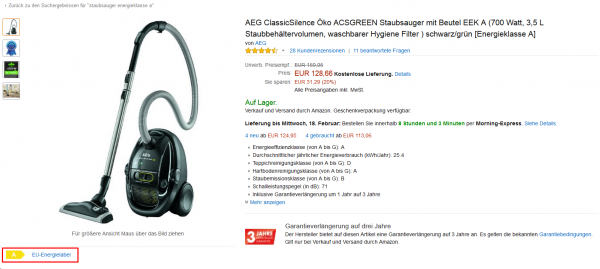 Energielabel bei Amazon