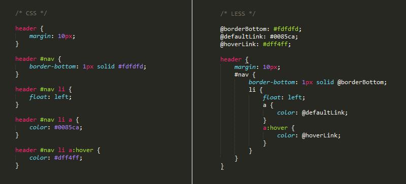 Vergleich der Syntax von LESS und CSS