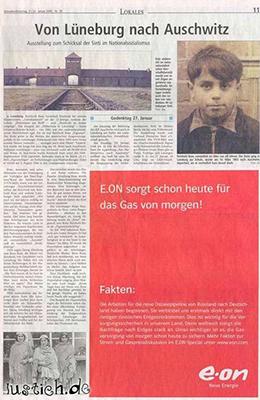 eOn Werbeanzeige mit dem Auschwitz-Artikel