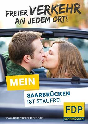 Mehrdeutiges Wahlplakat der FDP Saarbrücken