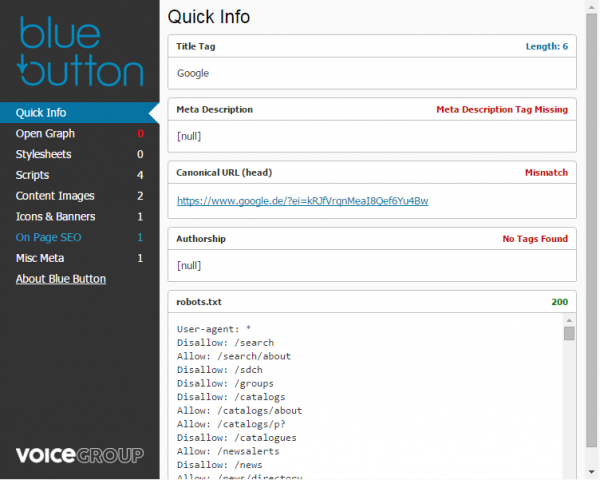 Blue Button SEO Tool für Chrome