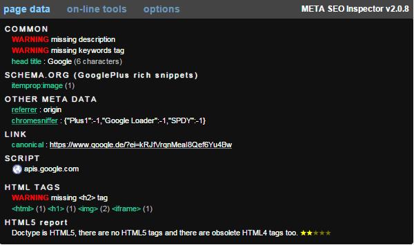 Meta SEO Inspection als Google Tool