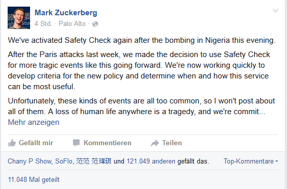 Facebook-Posting Safety-Check Nigeria