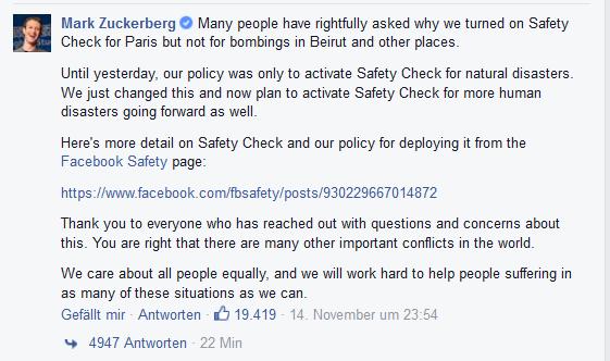 Facebook-Beitrag Zuckerberg