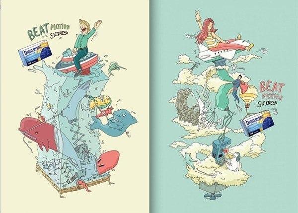 Darmamine Reisetabletten Illustration-Kampagne